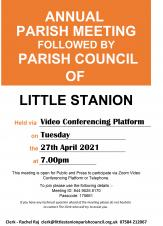 Annual Parish Council meeting followed by full Parish Council Meeting.